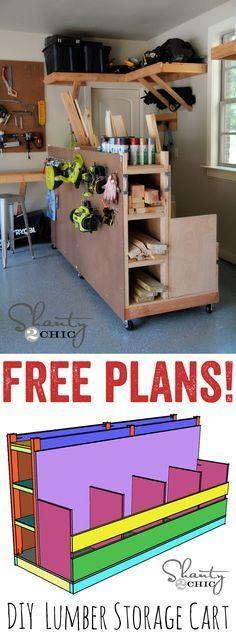 DIY Lumber Storage Cart Free Plans... I need this in my garage!  LOVE.  www.shanty-2-chic.com