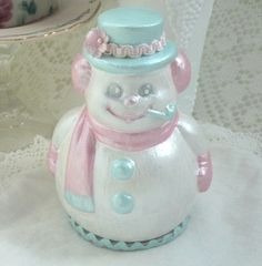 Pink/ Aqua SNOWMAN Shabby Sweet Plaster by RoseChicFriends on Etsy, $15.99