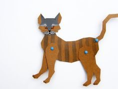 Cat Paper Doll Handpainted Articulated Paper Animal by Kalatirth