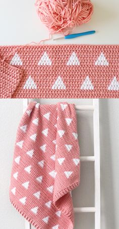 Free Pattern - Crochet Triangles Baby Blanket Hello, it's Hannah, I'm so excited to share the pattern for this Crochet Triangles Blanket because I really love how… ideas creative Manta Crochet, Knit Or Crochet, Crochet Crafts, Crochet Stitches, Booties Crochet, Kids Crochet, Crochet Cardigan, Crotchet, Crochet Ideas