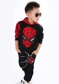 Stylish Long Sleeve Cartoon Spider-Man Print Hooded Sweatshirt + Pants Twinset... £6.37
