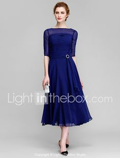 LAN TING BRIDE A-line Mother of the Bride Dress - Elegant Tea-length Half Sleeve Chiffon with Ruching 2017 - $111.19