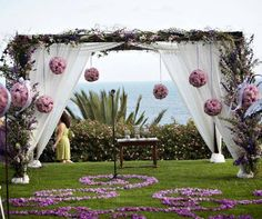 Beautiful wedding drapers with flower decor #summer time #pink #white #outdoor