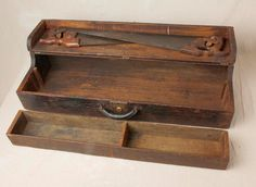 Vintage Primitive Carpenter's Tool Chest W/ Wood Tray And 2 Saws - Storage Trunk