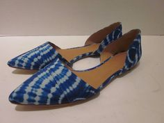 J Crew D'Orsay Blue White Tie Dye Flats Shoes Size 9 Dyed SOLD OUT #C4927 #JCrew #Flats