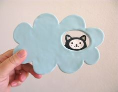 Ceramic Wall Hanging - Kitty Cloud - Cat in the Clouds. $26,00, via Etsy.