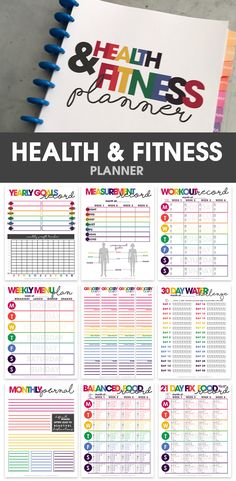 health fitness planner printable organizational printables weight loss tracker via moritzdesigns Bikini Fitness, You Fitness, Fitness Goals, Health Fitness, Fitness Weightloss, Fitness Tracker, Goals Tracker, Exercise Tracker, Fitness Hacks
