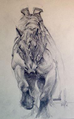 Dibujo a carbón de un caballo de tiro Autor: Francisco Javier Abellán