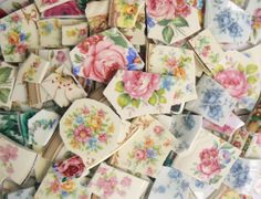 Floral Roses Mosaic China Plate Tiles Big by PamelasPlatePieces, $29.99