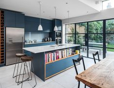 Slot house by au architects homeadore kitchen ideas, new kitchen, kitchen d Blue Kitchen Interior, Blue Kitchen Designs, Blue Kitchen Decor, Blue Kitchen Cabinets, Kitchen Paint Colors, Open Plan Kitchen, New Kitchen, Kitchen Dining, Small Open Kitchens