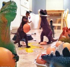 parents pretend plastic dinosaurs come to life at night in November. Plastic Dinosaurs, Dinosaur Toys, Dinosaur Stuffed Animal, Kids Dinosaurs, Dinosaur Activities, Baby Activities, Writing Activities, November Month, Parenting Done Right
