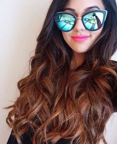Natasha A with her Ombre Chestnut Poersh Hair Extensions and super trendy sunnies!