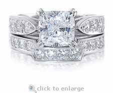 Cubic Zirconia 1.5 Carat 7x7 Cushion Cut Wedding Bridal Set By Ziamond in 14k White Gold.  The 1.5 ct Winston Cushion Bridal Set features a contoured band that fits perfectly with the solitaire. $1295 #ziamond #cubiczirconia #cz #ring #solitaire #weddingset #bridalset #wedding