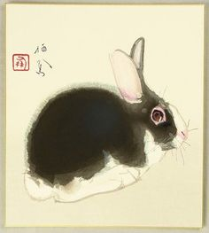 Takeuchi Seiho: Rabbit - Artelino Japanese Watercolor, Watercolor Art, Kyoto, Japan Painting, Rabbit Art, Bunny Art, Samurai Art, Korean Art, Japanese Prints