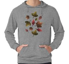 Sparkly leaves fall autumn sparkles pattern Lightweight Hoodie by #PLdesign #sparkles #colorful #sparklesgift #redbubble