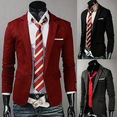 Wholesale Mens Casual Slim One Button Business Suit Blazer Jacket Coat