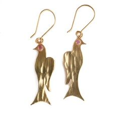 Gold Bird Earrings - Afghanistan