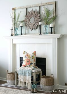 Ideas for Decorating with Old Windows: Old Window Frame Mantel - House by Hoff