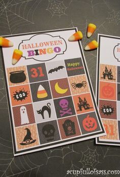 Halloween BINGO Cards Printable.  Great for school parties
