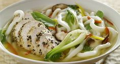 Peppercorn Mélange Chicken and Udon Noodles in Lemon Grass-Sake Broth