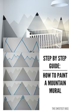 How To Paint A DIY Nursery Mountain Mural (No Art Skills Required) Looking for an amazing kids room or nursery decor idea? DIY this painted mountain range mural – easy and budget friendly! Baby Boy Rooms, Baby Bedroom, Baby Boy Nurseries, Kids Bedroom, Bedroom Ideas, Kids Rooms, Room Kids, Boys Room Paint Ideas, Lego Bedroom