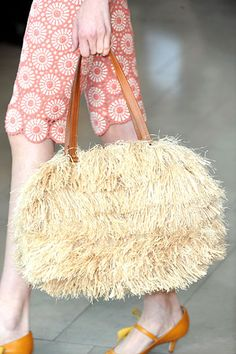Tory Burch Raffia Zip Satchel