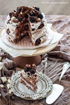 Blackberry and chocolate pavlova layer