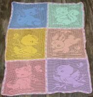 Filet Crochet Carriage or Crib Cover - Baby Animals