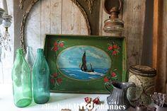 Vintage Tabletts - Buntes shabby chic Tablett, Segelboot, Holland - ein Designerstück von elisabethUNDjohannes bei DaWanda