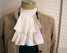 White Jabot, for your pirate halloween costume.  Mens costume accessory. Distressed Jabot is great for zombies too!