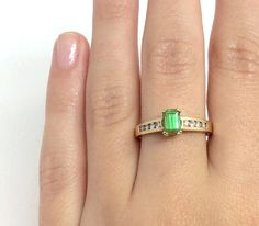 14k Emerald and Diamonds ring by Appelblom on Etsy