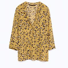 69b1cc0473 Blouse with 3 4 length sleeves Zara animal print blouse with 3 4 sleeves
