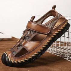 Men Hand Stitching Outdoor Non Slip Dress Leather Sandals is comfortable to wear, cheap men sandals are on sale-NewChic. New Shoes, Men's Shoes, Mode Steampunk, Casual Shoes, Men Casual, Mens Walking Shoes, Mocassins Cuir, Leather Dresses, Mens Clothing Styles