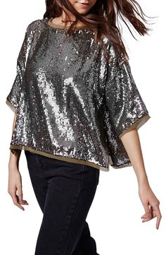 Just in time for the holidays! This raw-edged, sequin Topshop tee is so easy to dress up or down. Holiday work parties, events and nights out, deserve a tee such as this.