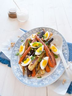 Geroosterde kerrie wortelen met ei