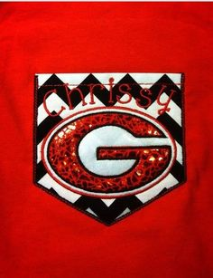 Georgia bulldogs Chevron Pocket tee sparkly Custom shirt UGA Ga Bulldogs University of Georgia