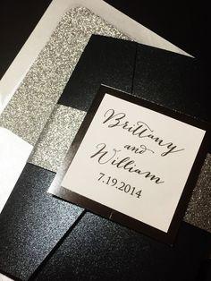 Glitter Wedding Invitation, Luxury Pocketfold Wedding Invitation, Elegant Wedding Invitation, Formal Wedding Invitation, Black and Silver, Silver Glitter