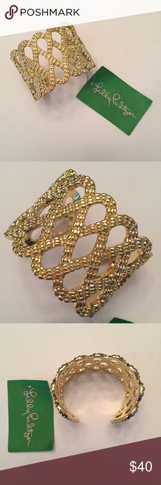 NEW! Lilly Pulitzer Gold Cuff Bracelet NWT, cuff bracelet with criss-cross design in a gold coloring. Comes securely wrapped in original packaging.   Offers welcome through the offer button. Receive 15% off when bundled with 2 other items in my closet. Lilly Pulitzer Jewelry Bracelets