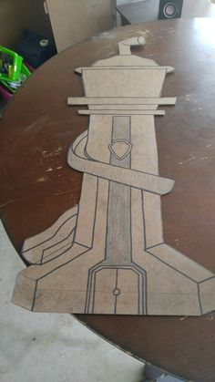 Making a Paw Patrol tower for son's B-day... Cut out and design collored so will show threw paint primer.