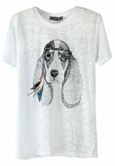 White Short Sleeve Dog Print Loose T-Shirt - Sheinside.com