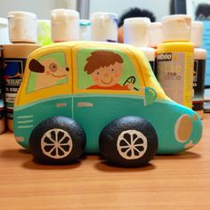 A little car for a little boy. #rockpainting.