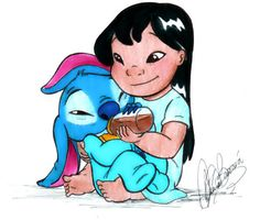 awww Stitch and his little bottle of coffee :)