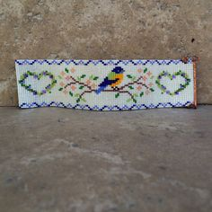 Bluebird of Happiness Bead Loom Bracelet Bohemian door PuebloAndCo