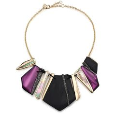 Alexis Bittar Pop Surrealist Lucite, Black Mother-Of-Pearl & Crystal... (687 CAD) ❤ liked on Polyvore featuring jewelry, necklaces, apparel & accessories, acrylic monogram necklace, black jewelry, pave necklace, acrylic necklace and pave jewelry
