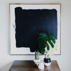 statement, block colour art, simple plants