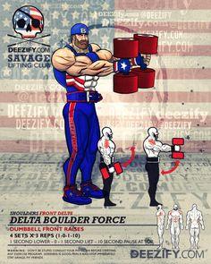 shoulder exercise:dumbbell shoulder front raises - cap america