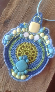 A crochet necklace with howlite and agate beads. by BulbaDesign on Etsy