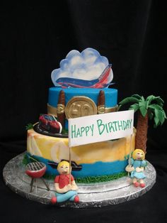Carpe diem! This birthday cake celebrates the traveling spirit and enjoying life to its fullest. @PartyFlavors #PartyFlavors