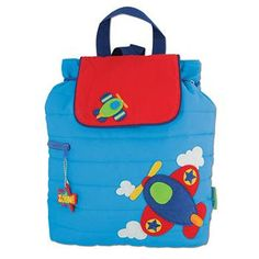 Boys Airplane backpack in blue and red with embroidery monogram
