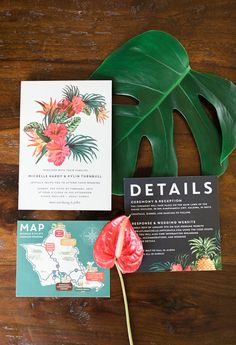 The perfect tropical wedding! How cute are these wedding invitations for a bride and groom celebrating their big day in a paradise location? The colors are vibrant making it bright and beautiful. Destination Wedding Inspiration, Destination Wedding Invitations, Wedding Invitation Design, Wedding Themes, Wedding Events, Destination Weddings, Wedding Ideas, Wedding Planning, Wedding Reception